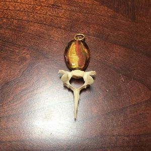 Jewelry - hand made cat vertebrae pendant with amber accent